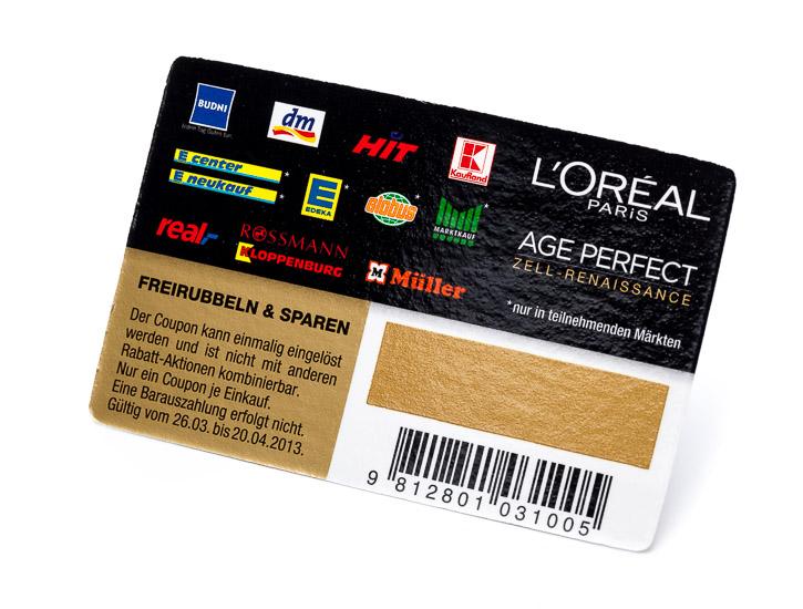 Rubbelkarte mit abgerundeten Ecken und goldener Rubbelfarbe